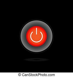 On Off Push style power button, The On Off buttons are enclosed in red icon in black background,
