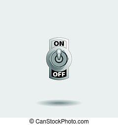 On Off switch, metallic