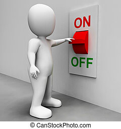 On Off Switch Shows Energy Supply And Electrician