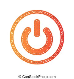 On Off switch sign. Orange applique isolated.