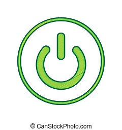 On Off switch sign. Vector. Lemon scribble icon on white background. Isolated