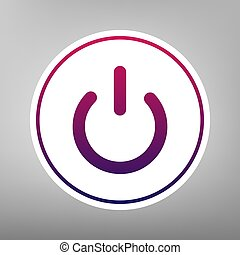 On Off switch sign. Vector. Purple gradient icon on white paper at gray background.