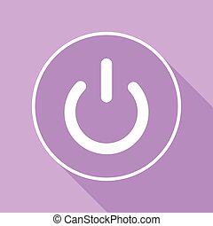 On Off switch sign. White Icon with long shadow at purple background. Illustration.