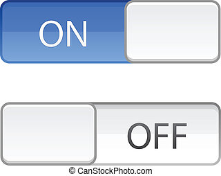 On Off switch slide button on white