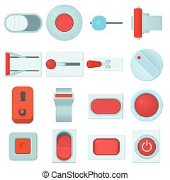On off switch web buttons icons set, cartoon style