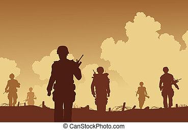 On patrol - Editable vector illustration soldiers walking on...