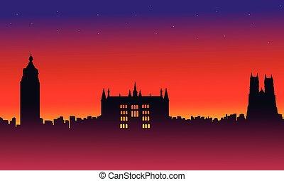 On red background London city building landscape