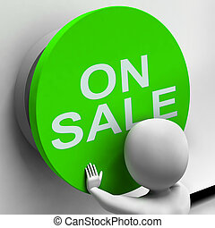 On Sale Button Means Reduced Price And Bargain
