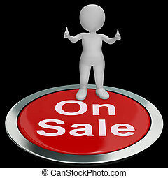 On Sale Button Means Reduced Price And Cheap Products