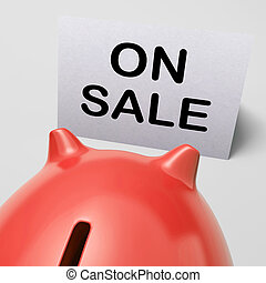 On Sale Piggy Bank Means Special Promo And Reduced Price