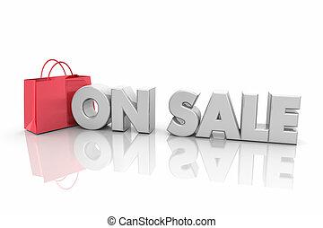 On Sale Shopping Bag Discount Price Words Render 3d Illustration