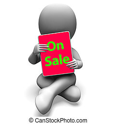 On Sale Tablet Character Shows Promotional Savings Or Discounts