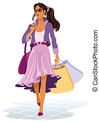 On shopping - Illustration of girl with shopping bags on the...