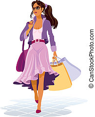 On shopping - Girl with shopping bags on the sales, vector...