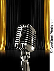 Glowing vintage microphone on stage with black gold curtains