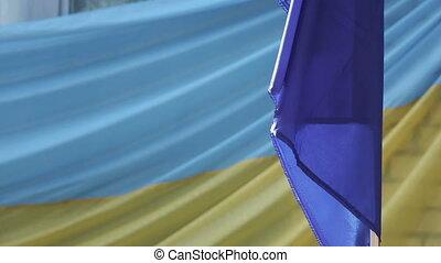 Ukrainian flag school yard - On support Ukrainian flag ...