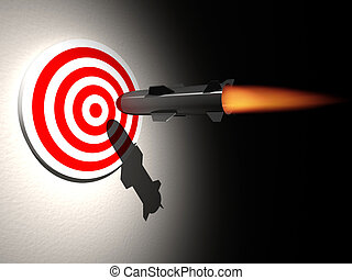 On target - A cruise missle ( rocket ) aiming target - ...