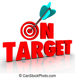 On Target Words Arrow Bull's Eye Direct Hit Mission Progress