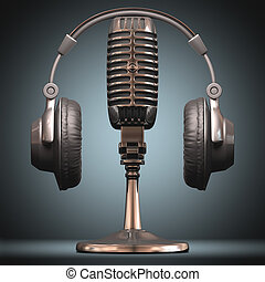 On The Air - Headset on top of a classic microphone.