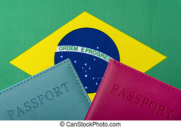On the background of the Flag of Brazil lie a passport.