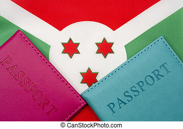 On the background of the flag of Burundi is a passport.