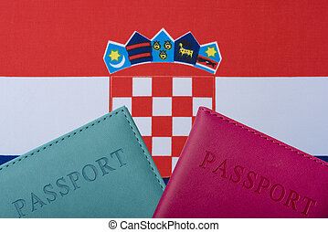 On the background of the Flag of Croatia are a passport.