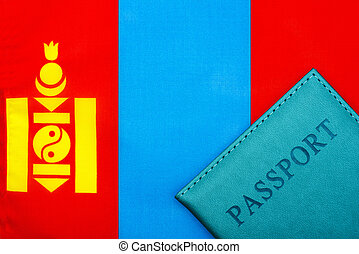 On the background of the flag of Mongolia is a passport.
