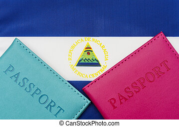 On the background of the flag of Nicaragua is a passport.