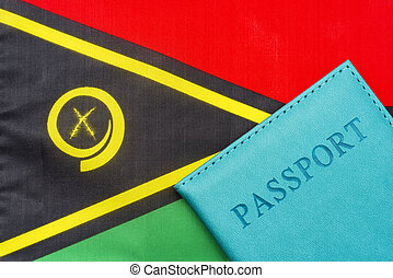 On the background of the flag of Vanuatu is a passport.