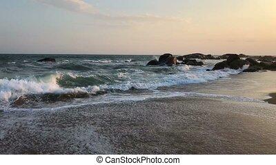On the beach at sunset close to Hotel Jetwing Yala, Yala...