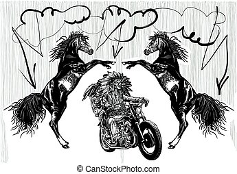 on the bike - native americans drive a motorcycle - An hand...