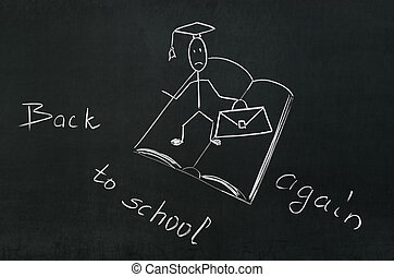 On the blackboard the words back to school again