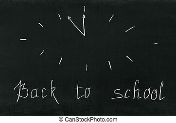 On the blackboard the words back to school