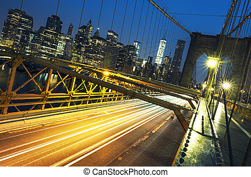 On the Brooklyn Bridge by night