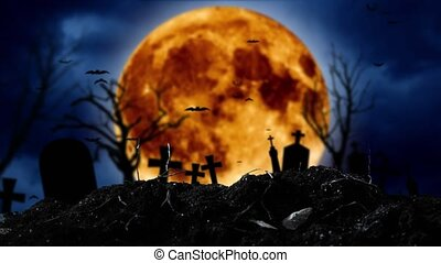 On the cemetery silhouettes of crosses and shines a moon -...