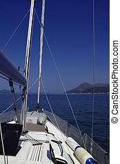 On the deck of sailing boat
