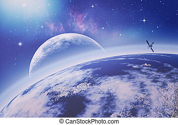 On the Earth orbit. Universe. Abstract science backgrounds. NASA imagery used