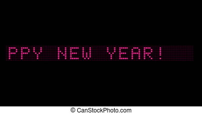On the electronic scoreboard, inscription HAPPY NEW YEAR appears and disappears. Congratulations on the Upcoming year 2021