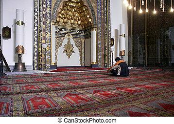 On the floor in mosque