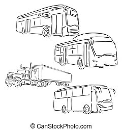 on the image the abstract silhouette of the bus is presented, bus, vector sketch illustration