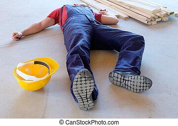 on-the-job, λιποθυμία , μετά , εργάτης , βλάβη