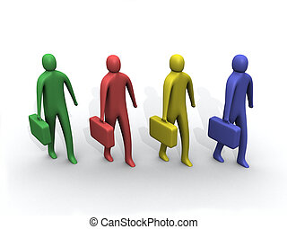 3d multicolored people holding briefcases.