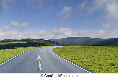 Driving on a road through the grasslands towards the forest hills.