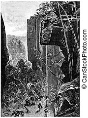 On the narrow gorges succeeded, cut by ravines, vintage ...