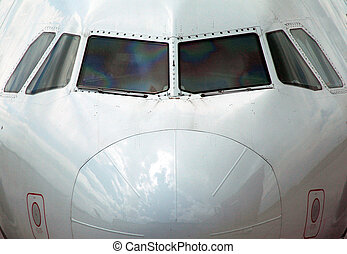 on the nose - nose on with a commercial jet aircraft