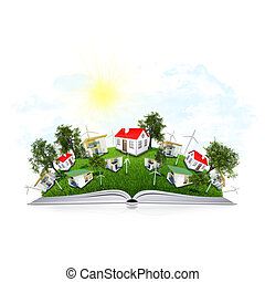 On the pages of an open book is grass, trees and houses. White background