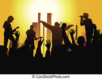 on the party - music concert on urban background, black, ...