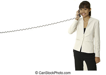 On The Phone 3 - A pretty young asian businesswoman talks on...