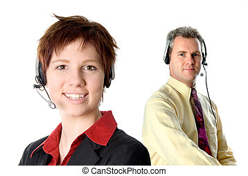 On the phone - customer service rep with headset and smiling
