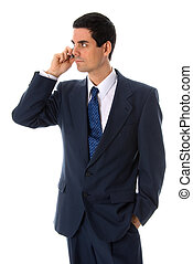 On the phone - man in a blue suit on the phone